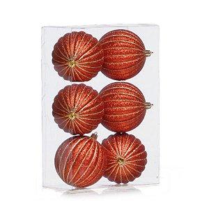 Kit Bolas Listras Vermelho e Ouro 8cm - 06 unidades - Cromus Natal - Rizzo Embalagens