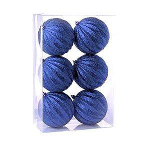 Kit Bolas Listras Azul 8cm - 06 unidades - Cromus Natal - Rizzo Embalagens