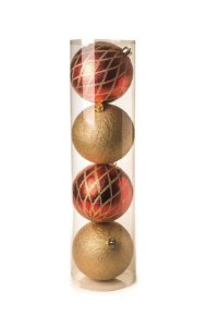Kit Bola Losango Brilhante Vermelho e Ouro 15cm - 04 unidades - Cromus Natal - Rizzo Embalagens