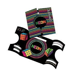 Convite - Festa Neon - 08 unidades - Festcolor - Rizzo Festas