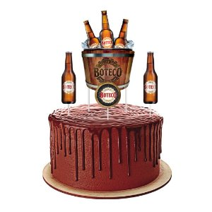 Topper para Bolo Festa Boteco - 04 Unidades - Festcolor - Rizzo Festas