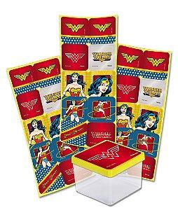 Adesivo Quadrado para Lembrancinha Festa Mulher Maravilha - 30 unidades - Festcolor - Rizzo Festas