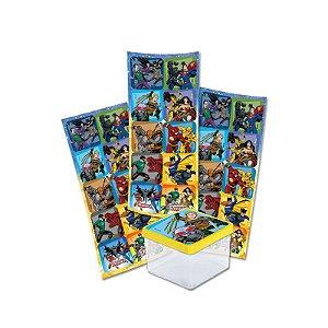 Adesivo Quadrado para Lembrancinha Festa Liga da Justiça - 30 unidades - Festcolor - Rizzo Festas