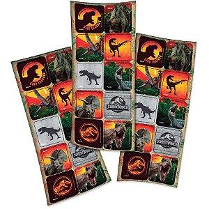 Adesivo Quadrado para Lembrancinha Festa Jurassic World - 30 unidades - Festcolor - Rizzo Festas
