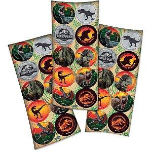 Adesivo Redondo para Lembrancinha Festa Jurassic World - 30 unidades - Festcolor - Rizzo Festas