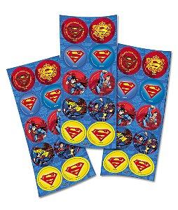 Adesivo Redondo para Lembrancinha Festa Superman - 30 unidades - Festcolor - Rizzo Festas