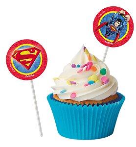 Topper Para Docinhos Festa Superman - 8 unidades - Festcolor - Rizzo Festas