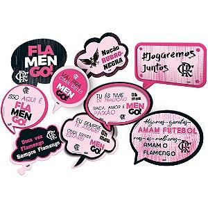 Kit Plaquinhas Divertidas Festa Flamengo Rosa - 09 unidades - Festcolor - Rizzo Festas