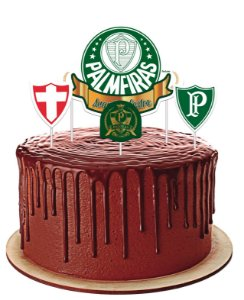 Topper Festa Palmeiras - 04 unidades - Festcolor - Rizzo Festas