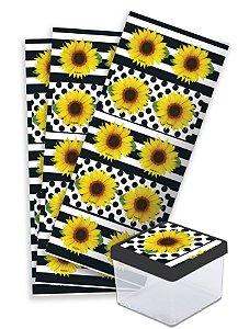 Adesivo Quadrado para Lembrancinha Festa Girassol - 30 unidades - Festcolor - Rizzo Festas