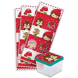 Adesivo Quadrado para Lembrancinha Festa Chapeuzinho Vermelho - 30 unidades - Festcolor - Rizzo Festas