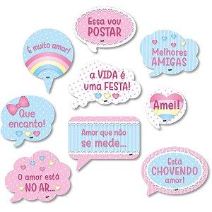 Kit Plaquinhas Divertidas Festa Chuva de Amor - 9 unidades - Festcolor - Rizzo Festas