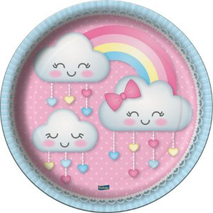 Prato Festa Chuva de Amor 18Cm - 8 unidades - Festcolor - Rizzo Festas