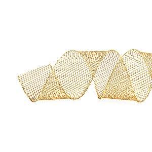 Fita Tela Glitter Ouro 6,3cm - 01 unidade 9,14m - Cromus Natal - Rizzo Embalagens