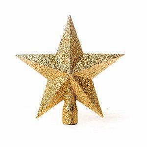Estrela com Glitter Ouro 15cm - 01 unidade - Cromus Natal - Rizzo Embalagens