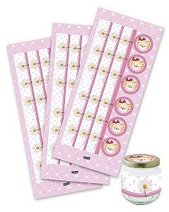 Adesivo para Lembrancinhas Festa Ursinha Rosa - 12 unidades - Festcolor - Rizzo Festas