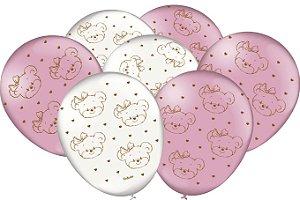 Balão Festa Ursinha Rosa - 25 unidades - Festcolor - Rizzo Festas