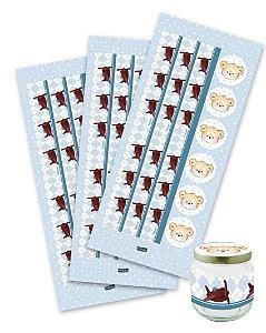 Adesivo para Lembrancinhas Festa Ursinho Azul - 12 unidades - Festcolor - Rizzo Festas