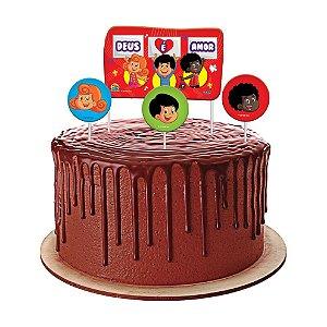 Topo de bolo Festa 3 Palavrinhas - 04 unidades - Festcolor - Rizzo Festas?