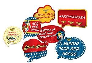 Kit Plaquinhas Divertidas Festa Mulher Maravilha - 09 unidades - Festcolor - Rizzo Festas