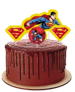 Topper para Bolo Festa Superman - 04 unidades - Festcolor - Rizzo Festas