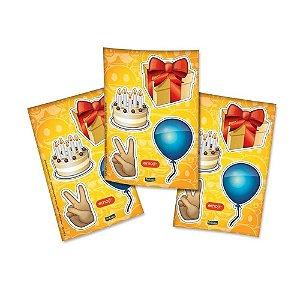 Adesivo Especial Festa Emoji - 16 unidades - Festcolor - Rizzo Embalagens e Festas