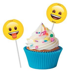Pick p/ Docinhos Festa Emoji - 8 unidades - Festcolor - Rizzo Festas
