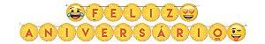 Faixa Feliz Aniversário Festa Emoji - 01 unidade - Festcolor - Rizzo Festas