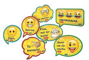 Kit Plaquinhas Divertidas Festa Emoji - 09 unidades - Festcolor - Rizzo Festas