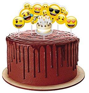 Topo de bolo Festa Emoji - 04 unidades - Festcolor - Rizzo Festas?
