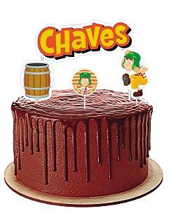 Topo de bolo Festa Chaves - 04 unidades - Festcolor - Rizzo Festas?