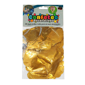 Confete Coração Metalizado 25g - Dourado Dupla Face - Rizzo Embalagens