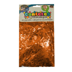 Confete Mini Picadinho Metalizado 25g - Laranja Dupla Face - Rizzo Embalagens