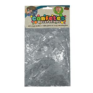 Confete Mini Picadinho Metalizado 25g - Prata Dupla Face - Rizzo Embalagens