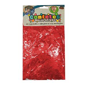 Confete Mini Picadinho Metalizado 25g - Vermelho Dupla Face - Rizzo Embalagens