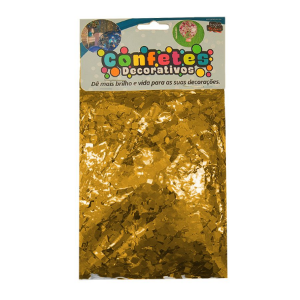 Confete Mini Picadinho Metalizado 25g - Dourado Dupla Face - Rizzo Embalagens