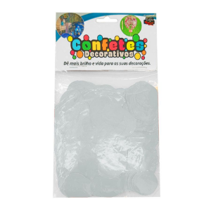 Confete Redondo 25g - Branco Perola Dupla Face - Rizzo Embalagens