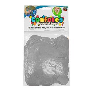 Confete Redondo Metalizado 25g - Prata Dupla Face - Rizzo Embalagens
