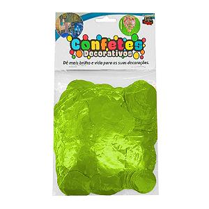 Confete Redondo Metalizado 25g - Verde Lima Dupla Face - Rizzo Embalagens