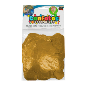 Confete Redondo Metalizado 25g - Dourado Dupla Face - Rizzo Embalagens