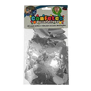 Confete Estrela Metalizado 25g - Prata Dupla Face - Rizzo Embalagens