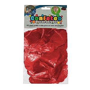 Confete Coração Metalizado 25g - Vermelho Dupla Face - Rizzo Embalagens