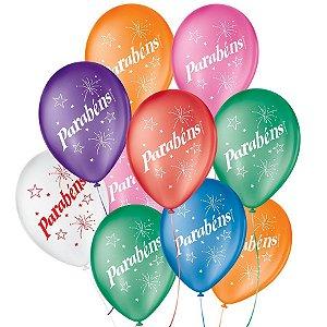 """Balão de Festa Decorado Parabéns - Sortido 9"""" 23cm - 25 Unidades - São Roque - Rizzo Balões"""