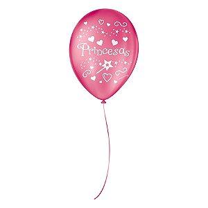 """Balão de Festa Decorado Princesas - Rosa Pink e Branco 9"""" 23cm - 25 Unidades - São Roque - Rizzo Balões"""