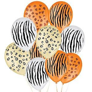 """Balão de Festa Decorado Safari - Sortido 9"""" 23cm - 25 Unidades - São Roque - Rizzo Balões"""