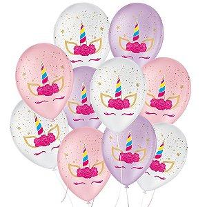"""Balão de Festa Decorado Unicórnio Charm - Sortido 9"""" 23cm - 25 Unidades - São Roque - Rizzo Balões"""