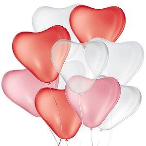 Balão de Festa Látex Coração - Sortido - São Roque - Rizzo Balões