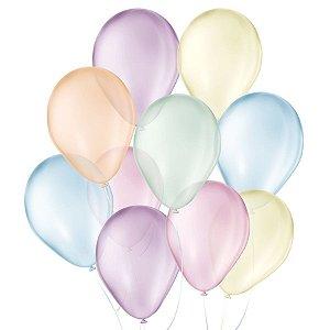 Balão de Festa Látex Cristal Baby - Sortido - 25 Unidades - São Roque - Rizzo Balões