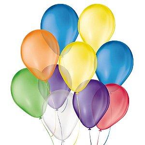 Balão de Festa Látex Cristal - Sortido - São Roque - Rizzo Balões