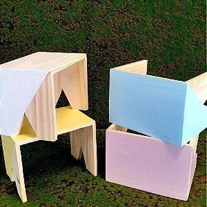 Decoração MDF Banco Pinus Duas cores - 01 unidade - Mara Móveis - Rizzo